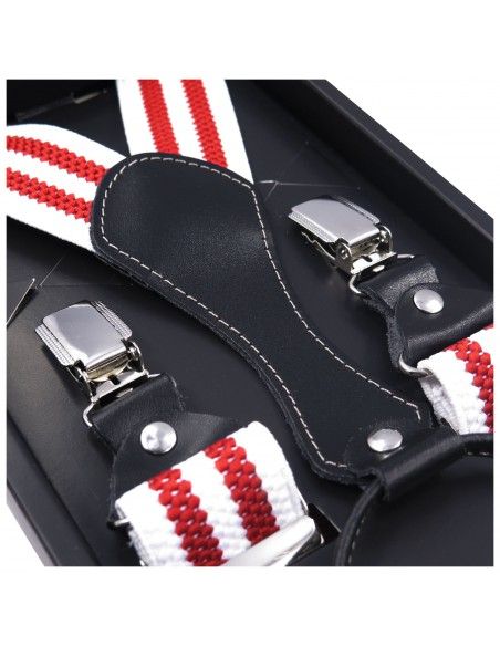 Białe szelki do spodni z czerwonymi paskami SZ50
