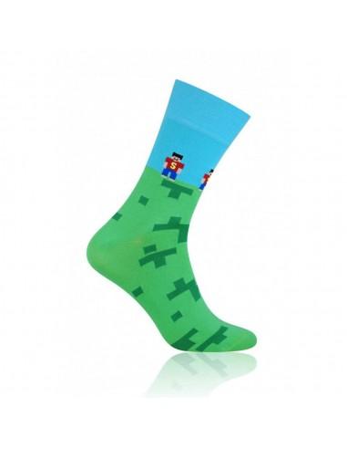 Niebiesko-zielone skarpety męskie - wzór z gry