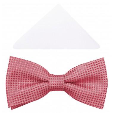 Różowa muszka męska - drobne kwadraciki A84