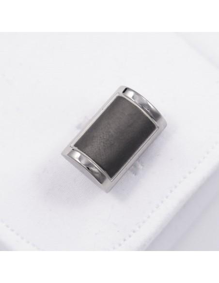 Srebrne spinki do mankietów z szarym prostokątem A120