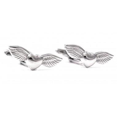 Srebrne spinki do mankietów - skrzydlate serca A124