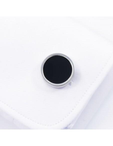 Srebrno-czarne okrągłe spinki do mankietów A126
