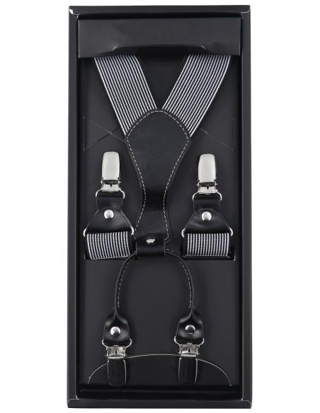 Czarne szelki w białe paski SZ54