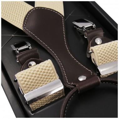 Beżowe szelki do spodni z brązowymi skórkami SZ55