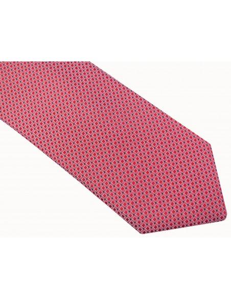 Czerwony krawat męski w drobne kwadraty D40