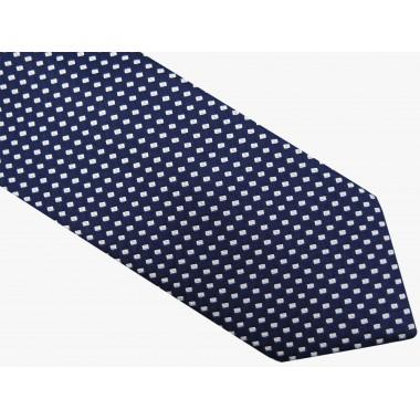 Granatowy krawat w białe prostokąty D42