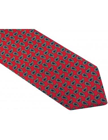 Czerwony krawat w granatowy paisley D46