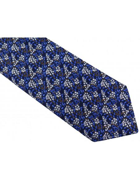 Granatowo-niebieski krawat w białe kwiaty D47