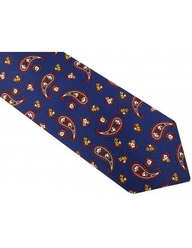 Granatowy krawat męski we wzór paisley D50