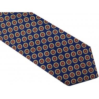 Granatowy krawat męski w czerwone kwiaty D52