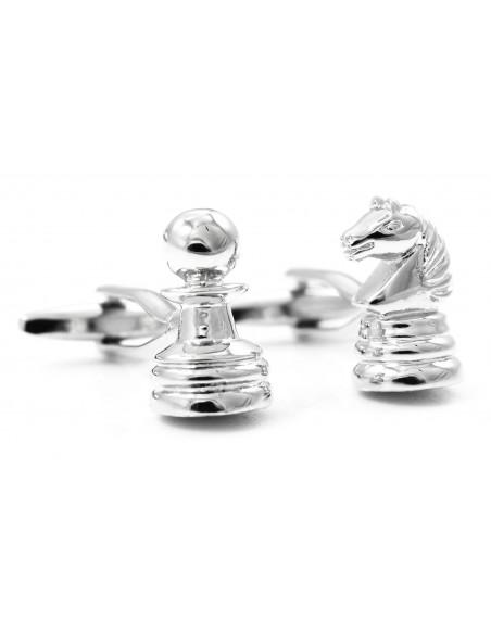 Srebrne spinki do mankietów - szachy