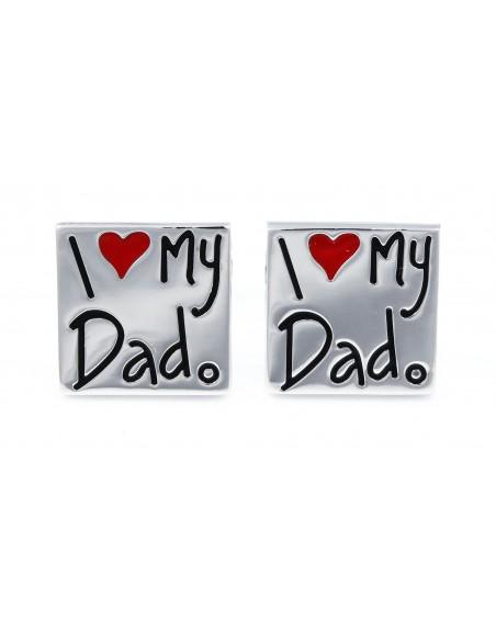 Srebrne spinki do mankietów - I love my Dad