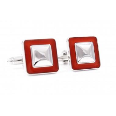 Srebrno-czerwone kwadratowe spinki do mankietów U99
