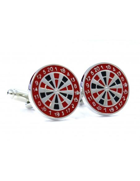 Srebrno-czerwone spinki - dart