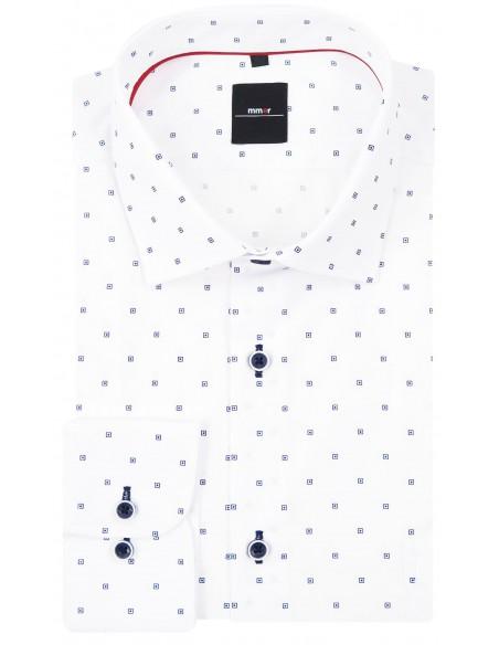 Biała koszula męska w granatowe kwadraty 117