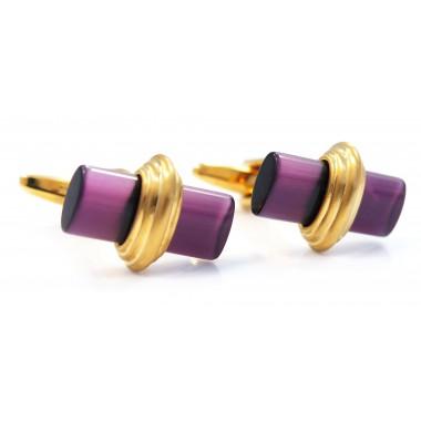 Oryginalne złoto-fioletowe spinki do mankietów M103