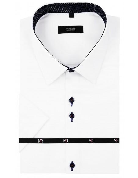 Biała koszula męska z krótkim rękawem i kontrastami w kropki 070