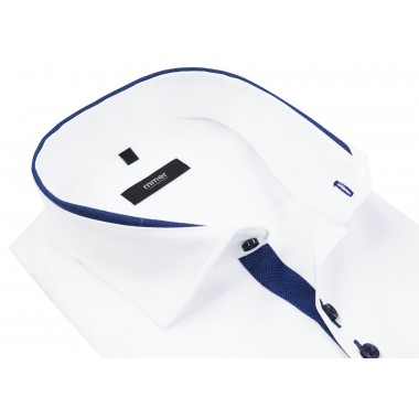 Biała koszula z niebieskimi kontrastami krótki rękaw 885KR