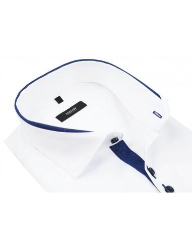 Biała koszula z niebieskimi kontrastami krótki rękaw 885