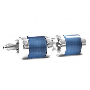 Srebrne spinki z niebieskim kwadratem A127