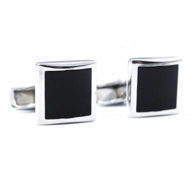 Srebrno-czarne kwadratowe spinki do mankietów A131
