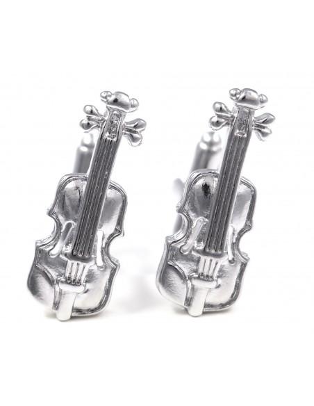 Srebrne spinki do mankietów - skrzypce U90