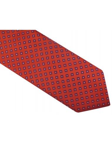 Czerwony krawat w granatowe kwiatki D68