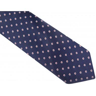 Granatowy krawat w biało-czerwone grochy D77