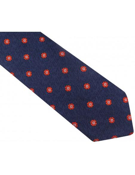 Ciemnogranatowy krawat męski w czerwone kwiaty D79