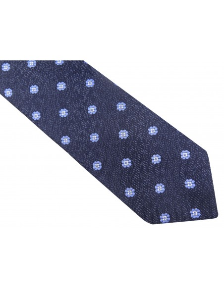 Granatowy krawat męski w niebieskie kwiatki D84