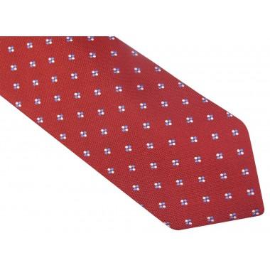 Czerwony krawat w biało-niebieskie kropki D92