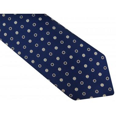 Granatowy krawat w beżowo-brązowe grochy D95