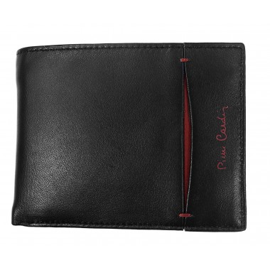 Skórzany czarny portfel Pierre Cardin z bordem PF2