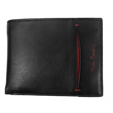 Skórzany czarny portfel z bordem PF2