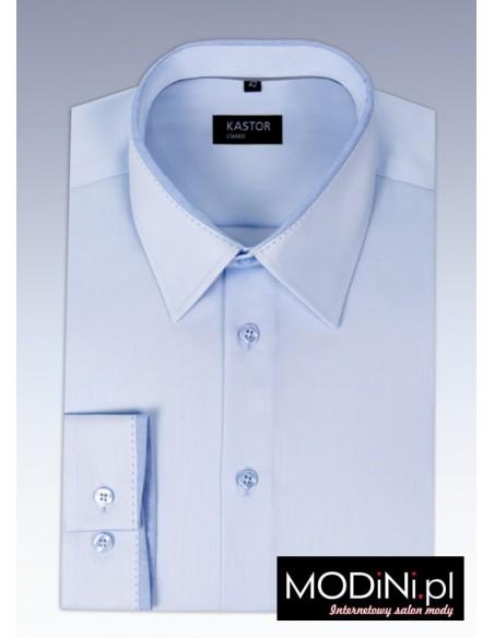 Błękitna koszula Kastor - unikalny model z ozdobnym kołnierzem 0084