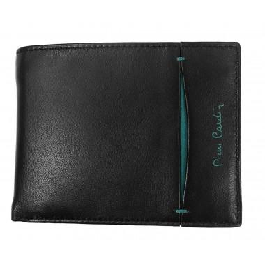 Czarny skórzany portfel Pierre Cardin z niebieskim PF6