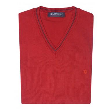 Czerwony sweter męski w szpic SW1