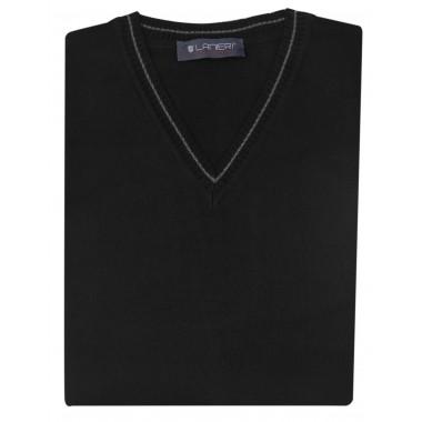 Czarny sweter męski w szpic SW7