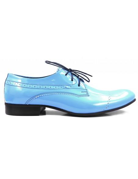 Unikatowe błękitne lakierki męskie T68