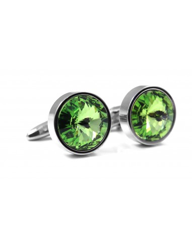 Unikatowe spinki z zielonymi kryształami M106