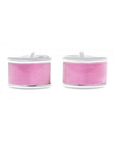 Srebrno-różowe spinki do mankietów A130