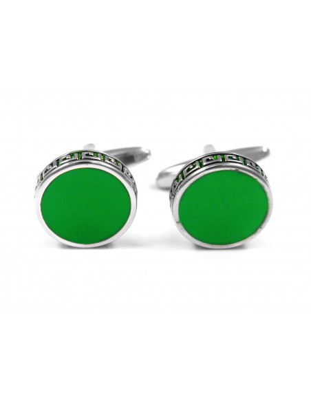Okrągłe zielone spinki do mankietów M104