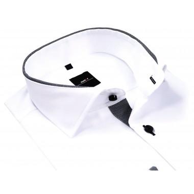 Biała koszula męska z szarą lamówką 884
