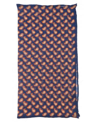 Granatowa poszetka 100% modal - drobny wzór paisley E95