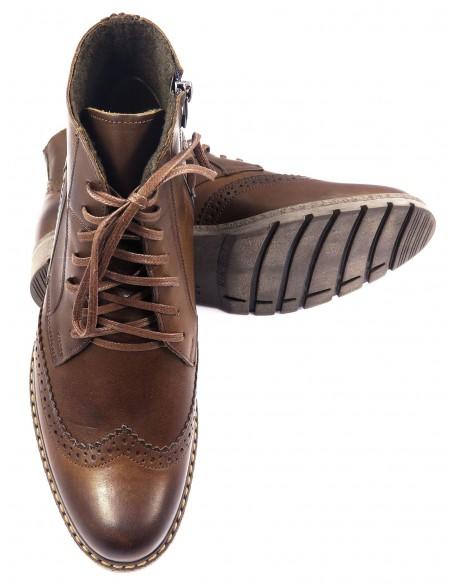 Skórzane brązowe buty męskie zimowe T79