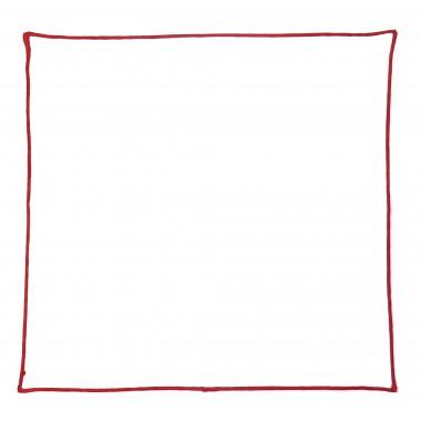 Biała poszetka z czerwonym obszyciem