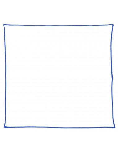 Biała poszetka z niebieskim obszyciem