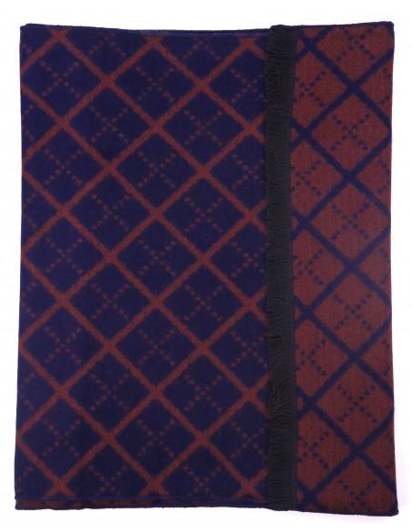 Granatowo-bordowy szalik męski w romby I46