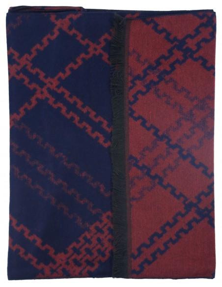 Granatowo-bordowy szalik męski I48