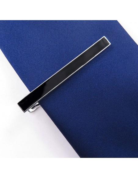 Srebrna spinka do krawata z czarnym prostokątem ZS15